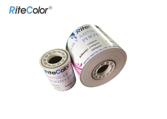 Inkjet RC Dry Minilab Glossy / Luster / Satin Photo Paper Roll For Fuji Dx100